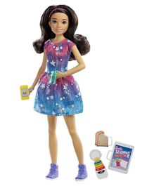 Barbie Babysitting Skipper Doll Brunette with Phone and Baby Bottle - Blue