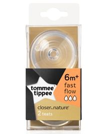 Tommee Tippee Easi-Vent Fast Flow Teats Pack of 2 - Transparent