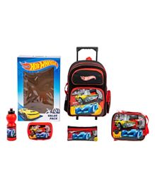 Hot Wheels Trolley Backpack + Pencil Pouch + Lunch Bag + Lunch Box + Water Bottle