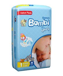Sanita Bambi Baby Diapers Value Pack Size 1 - 48 Pieces