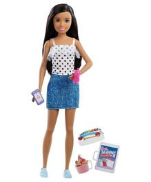 Barbie Skipper Babysitters Inc Doll Polka Dots Denim Dress & Accessories - White