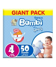 Sanita Bambi Baby Diapers Giant Pack Size 4 - 50 Pieces