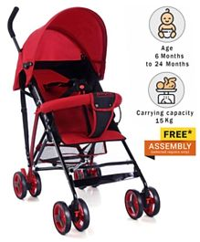 Babyhug Agile Baby Light Weight Stroller Buggy - Red & Black