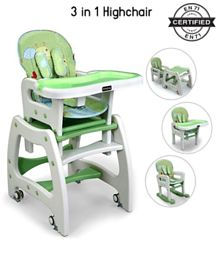 Babyhug Dolce Vita 3 in 1 High Chair With Caster Wheels & 5 Point Safety Harness - Green