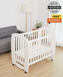 Babyhug Compacto 3 in 1 Cot Rocker Cum Study Table - White