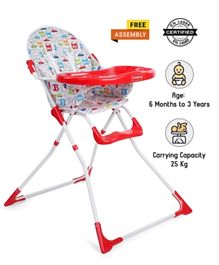 Babyhug Fun Feast Highchair With Adjustable Food Tray & 5 Point Safety Harness - Red
