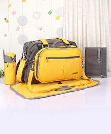 Babyhug Duet Diaper Bag - Grey & Yellow
