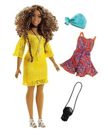 Barbie Fashionistas Curvy Doll and Boho Fashion Gif tset - Yellow