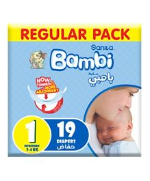 Sanita Bambi Baby Diapers Regular Pack Size 1 - 19 Pieces