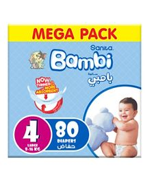 Sanita Bambi Baby Diapers Mega Pack Size 4 - 80 Pieces