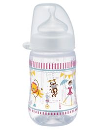 Nip Wide Neck PP Bottle Circus Print White - 260 ml
