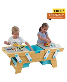 KidKraft Wooden Building Bricks Play and Store Table - Beige & Blue