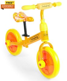 Babyhug Wanderer 2-1 Plug & play Balance Bike & Bicycle Yellow Orange - 12 inches