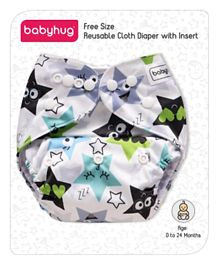 Babyhug Free Size Reusable Cloth Diaper With Insert Star Print - White