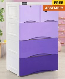 Babyhug 5 Compartment Chest of Drawers - Purple & White