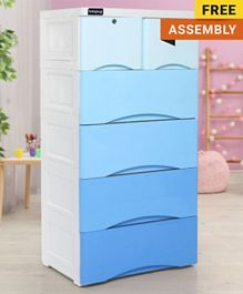 Babyhug 6 Compartment Chest of Drawers with Wheels - Blue White