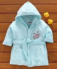 Babyhug Three Fourth Sleeves Bathrobe Planet Embroidered - Blue