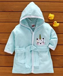 Babyhug Three Fourth Sleeves Bathrobe Kitty Patch - Blue