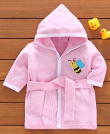 Babyhug Three Fourth Sleeves Hooded Bathrobe Honey Bee Embroidery - Pink