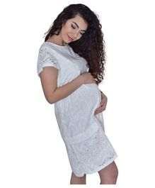 Pikkaboo Embroidery Loose Maternity Dress - White