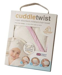 Cuddledry Cuddle Twist Bamboo Hair Towel - White & Pink Stripes