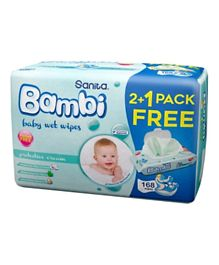 Sanita Bambi Baby Wet Wipes Protective Cream Pack of 2 Plus 1 Free Wipes - 168 Pieces