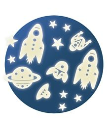 Djeco Space Mission Glow in the Dark Stickers - Blue