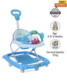 Babyhug Tiny Trotter Musical Walker With Parent Push Handle & 2 Level Height Adjustment - Blue