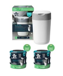 Tommee Tippee Twist & Click Nappy Disposal Sangenic Bin (With 1 Preloaded Cassette) + 6 Extra Cassettes - White
