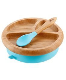Avanchy Bamboo Suction Plate with Spoon - Blue