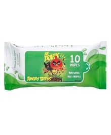 Angry Birds Premium Wet Wipes Green - 10 Wipes