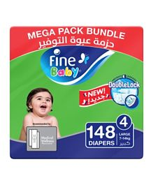 Fine Baby Diapers Size 4 Mega Pack 2 Packs of 74 diapers 148 total count
