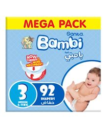 Sanita Bambi Baby Diapers Mega Pack Size 3 - 92 Pieces