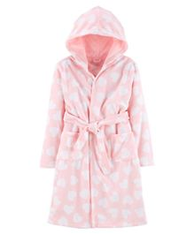 Carter's Heart Hooded Fleece Robe - Pink