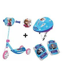 Smoby Disney Frozen 3 Wheels Scooter with Protective Gear Combo Set - Blue