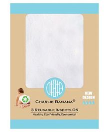 Charlie Banana 3 Inserts One Size Medium / Large  - White