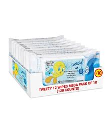 Warner Bros Tweety Wipes Blue Mega Pack of 10 - 120 Wipes