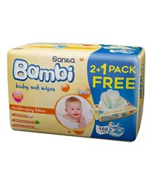 Sanita Bambi Baby Wet Wipes Moisturizing Lotion Pack of 2 Pus 1 Free - 168 Pieces