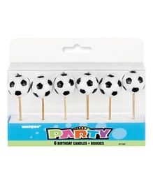Unique 3D Football Birthday Candles Pack of 6 - Black and White