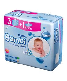 Sanita Bambi Baby Wet Wipes Everyday clean wipes Pack of 3 Plus 1 Free - 256 Pieces