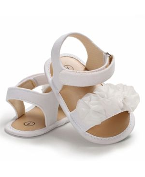 Babyqlo Korean Style Summer Girl Ruffles Princess Floral Anti-Slip Baby Sandal - White