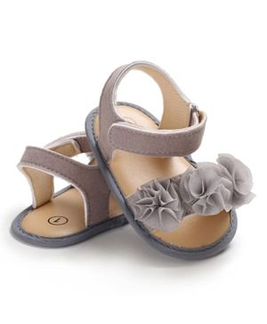 Babyqlo Korean Style Summer Girl Ruffles Princess Floral Anti-Slip Baby Sandal - Grey