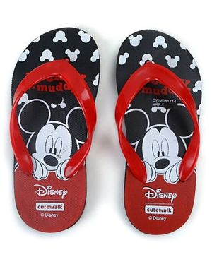 Cute Walk by Babyhug Flip Flops Mickey Mouse Print - Black Red