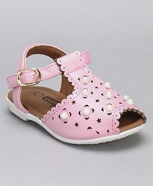 Cute Walk by Babyhug Party Wear Sandals Bead Detailing - Pink