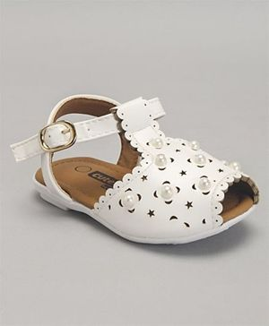 Cute Walk by Babyhug Party Wear Sandals Bead Detailing - White