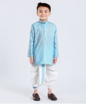 Babyhug Full Sleeves Kurta & Dhoti Set - Blue White