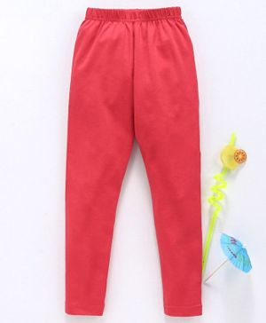 Babyhug Full Length Solid Color Lycra Leggings - Cherry Red