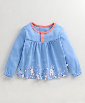 Babyoye Cotton Full Sleeves Top Bunny Print - Blue