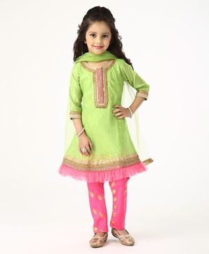 Babyhug 3/4th Sleeves Churidar Suit with Dupatta Sequin Design - Pink Green