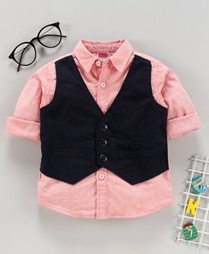 Babyhug Full Sleeves Solid and Printed Shirt with Waist Coat - Peach Black
